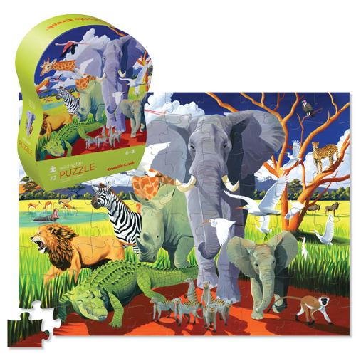 Crocodile Creek: 72-Piece Junior Shaped Puzzle - Wild Safari