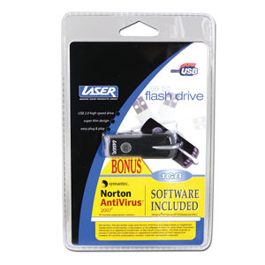 Laser USB Flash Drive 512Mb With Norton Anti Virus