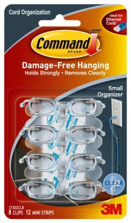 Command Clear Small Cord Organiser with Clear Strips - Pkt 8