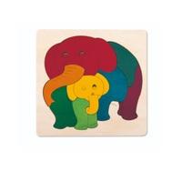 Hape: Rainbow Elephant & Baby Puzzle