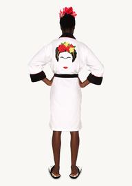 Frida Kahlo: Hoodless Fleece Bathrobe - Black & White Minimalist Ladies (One Size) image