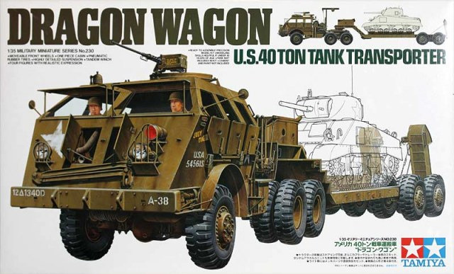 "Tamiya U.S. 40 Ton Tank Transporter ""Dragon Wagon'' 1:35 Model Kit image"