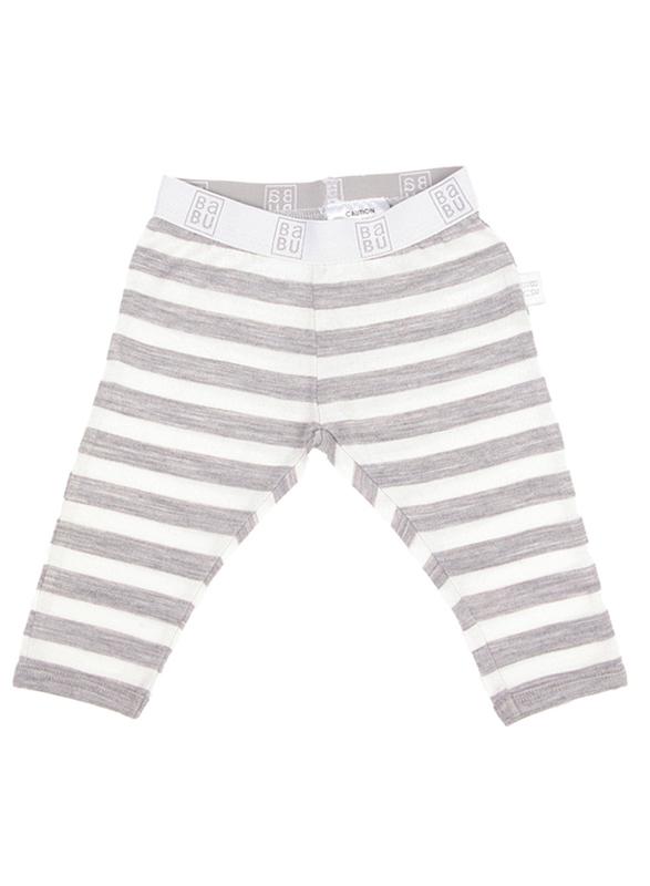 Babu: Merino Footless Leggings - Grey Stripe (4 Years)