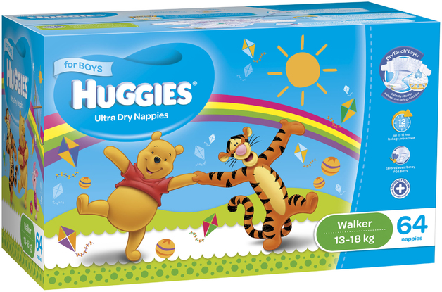 Huggies Ultra Dry Nappies: Jumbo Pack - Walker Boy 13-18kg (64)