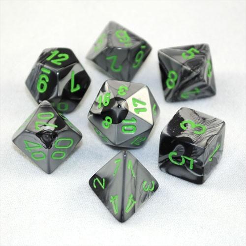 Chessex Gemini Polyhedral Dice Set Black-Grey/Green
