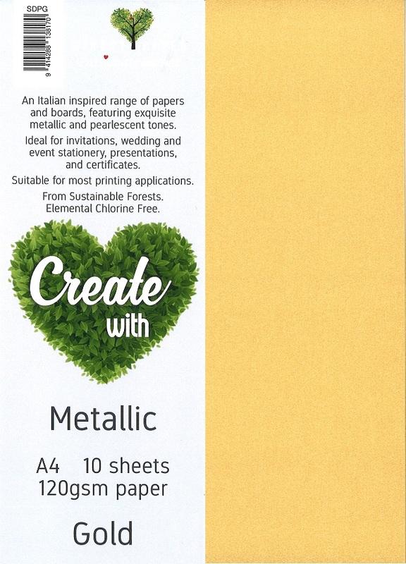 Metallic Paper A4 120gsm - Gold (10 Pack)