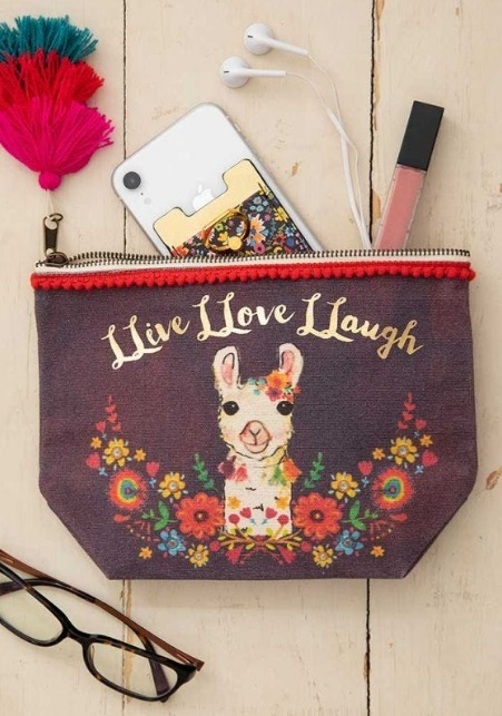 Natural Life: Canvas Cosmetics Pouch - Live Love Laugh Llama