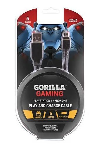 Gorilla Gaming Play and Charge Cable (5 Metres, PS4 & Xbox One) for PS4 image