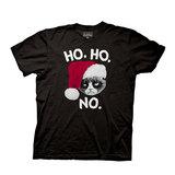 Grumpy Cat Ho Ho No Black T-Shirt (Small)