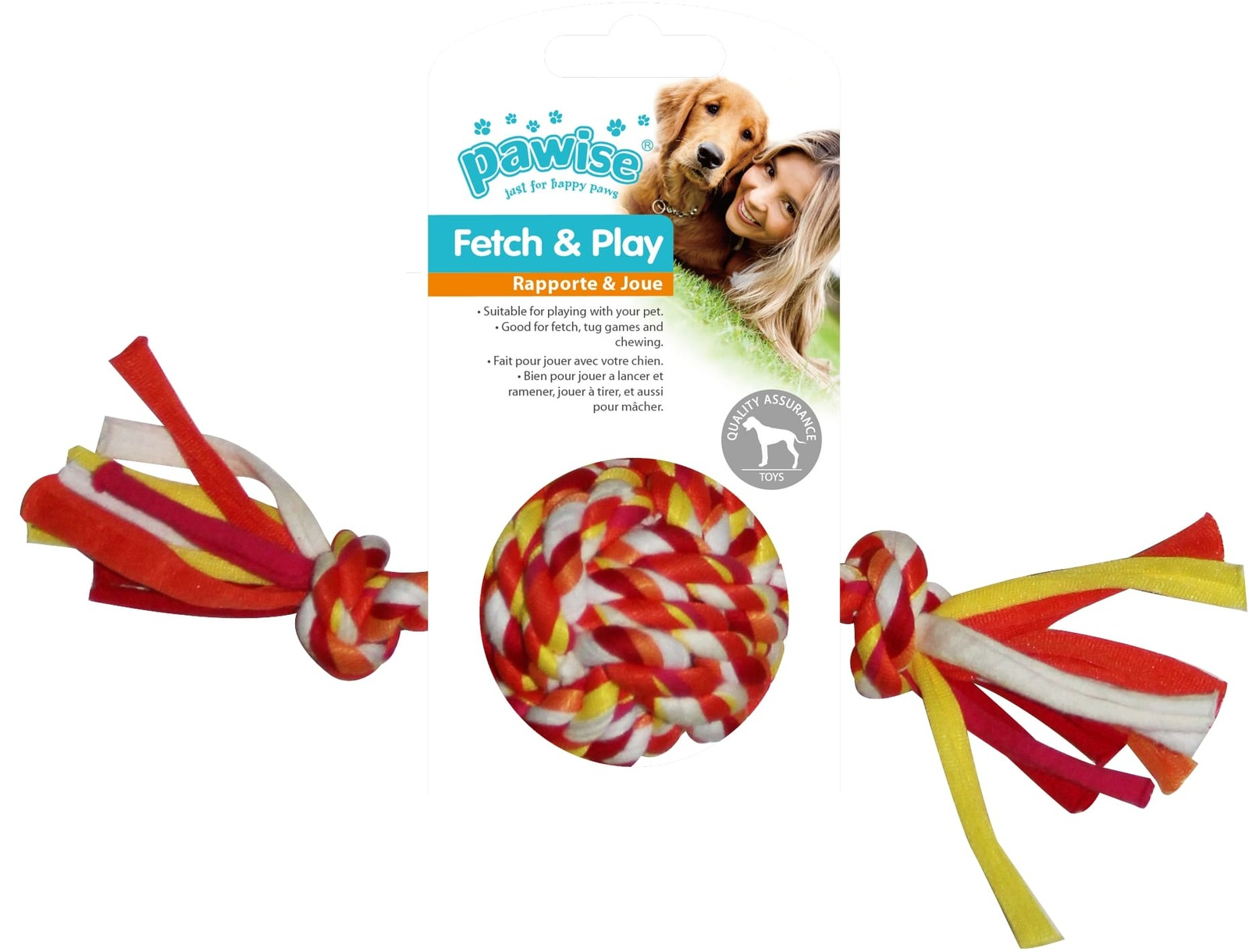 Pawise: Colorful Braided Rope Ball - 20 cm image