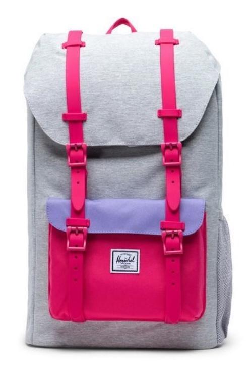Herschel Supply Co: Herschel Little America Youth - Light Grey Crosshatch/Raspberry Sorbet/Aster Purple