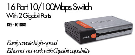 D-Link DES-1018DG, 16 PORT 10/100 AND 2 PORT 1000T SWITCH