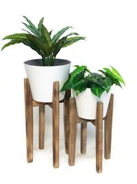 Set of 2 Aaro Planters with Wooden Stand (White)