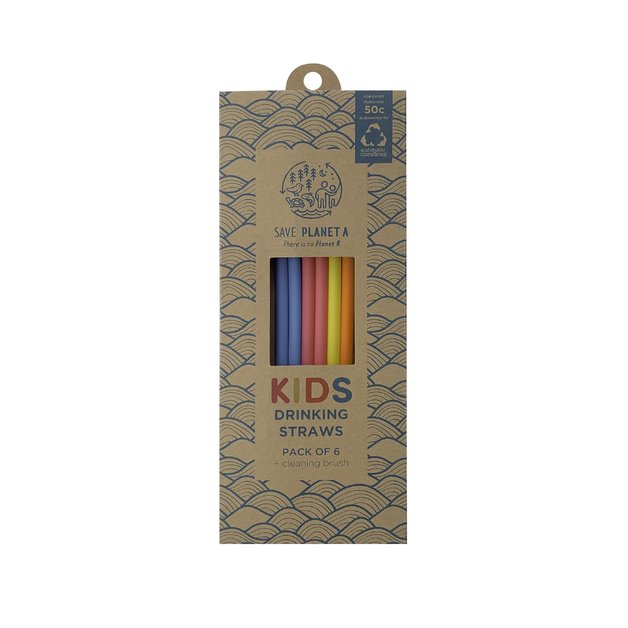 Kids Silicone Reusable Drinking Straws (6 Pack + Brush)