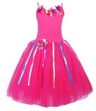 Pink Poppy: Rainbow Fairy Dress (Size 7/8) - Hot Pink