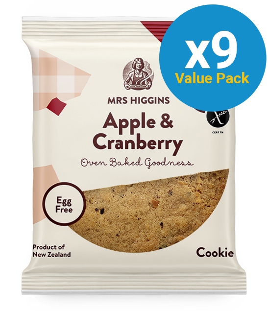 Mrs Higgins: Gluten Free Cookie Apple & Cranberry (60g) Pack of 12