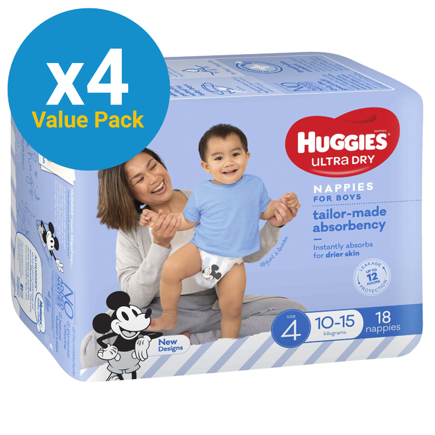 Huggies Ultra Dry Nappies Convenience Value Box - Size 4 Toddler Boy (72)