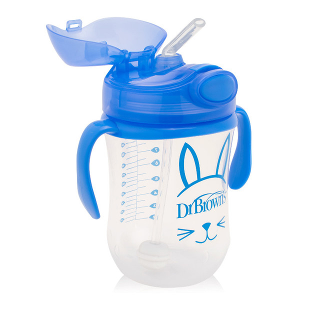 Dr Brown's Baby's First Straw Cup with Handles 270 ml - Blue