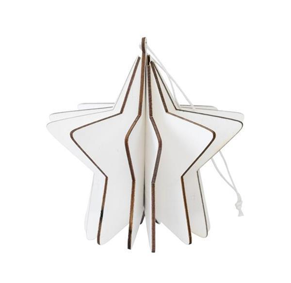 3D Star Hanging Decoration - White