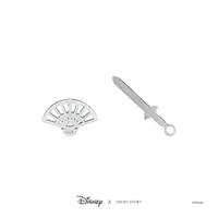 Short Story: Disney Earring Mulan Fan and Sword - Silver