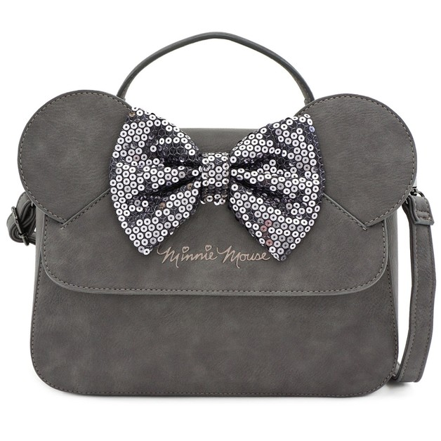 Loungefly: Mickey Mouse - Minnie Grey with Bow Crossbody Bag