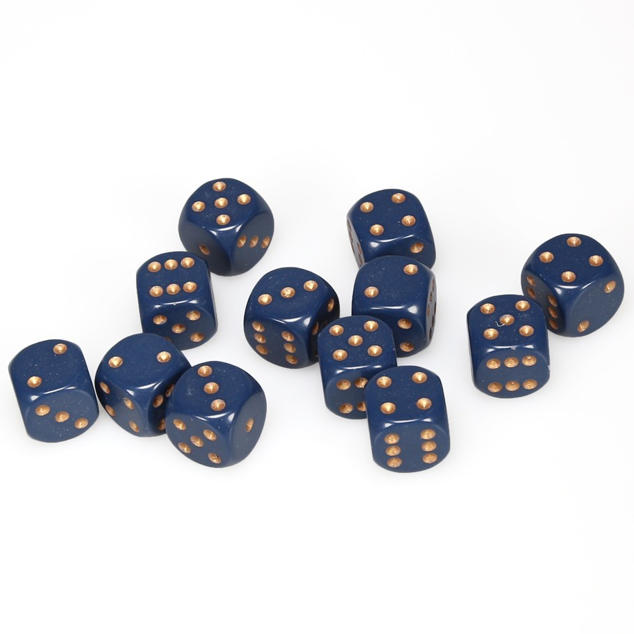 Chessex: D6 Opaque Cube Set (16mm) - Dusty Blue/Copper image