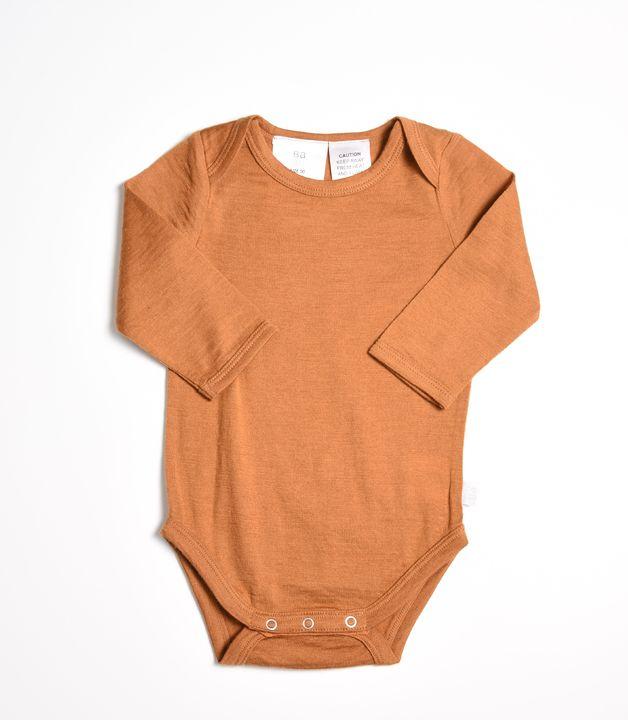 Babu: Merino Sleeved Bodysuit - Cinnamon (New Born)