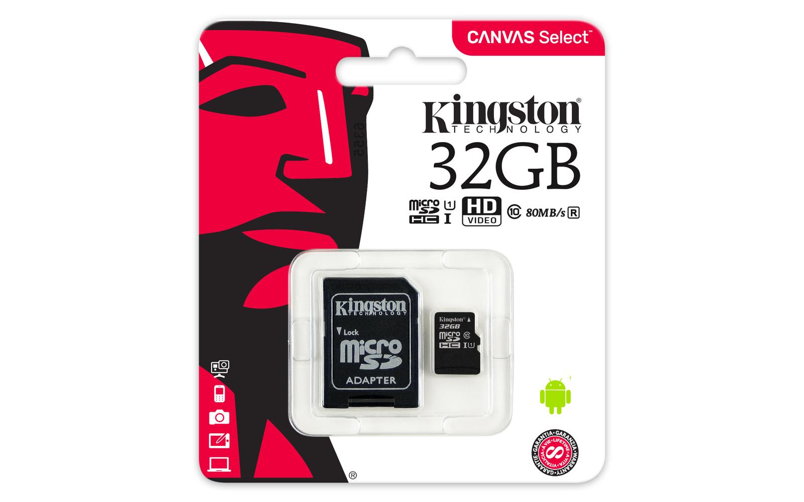 32GB Kingston Canvas Select MicroSDHC Card + SD Adaptor - Class 10 UHS-I image