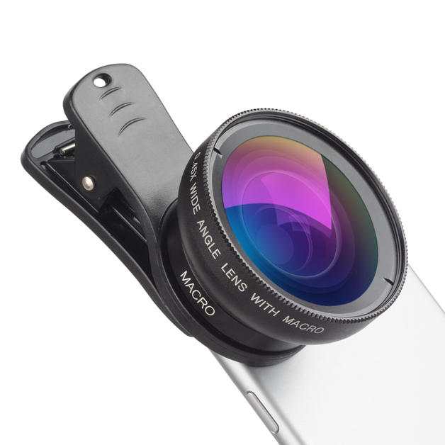 Apexel: 37mm Clip Mobile Camera Lens Pro - 0.45X Wide Angle Lens + 12.5X Macro Lens