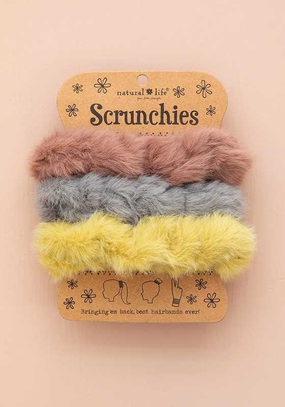 Natural Life: Fuzzy Scrunchie - Pink Yellow (Set of 3)