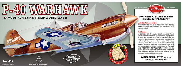 P40 Warhawk 1:16 Laser Cut Balsa Model Kit
