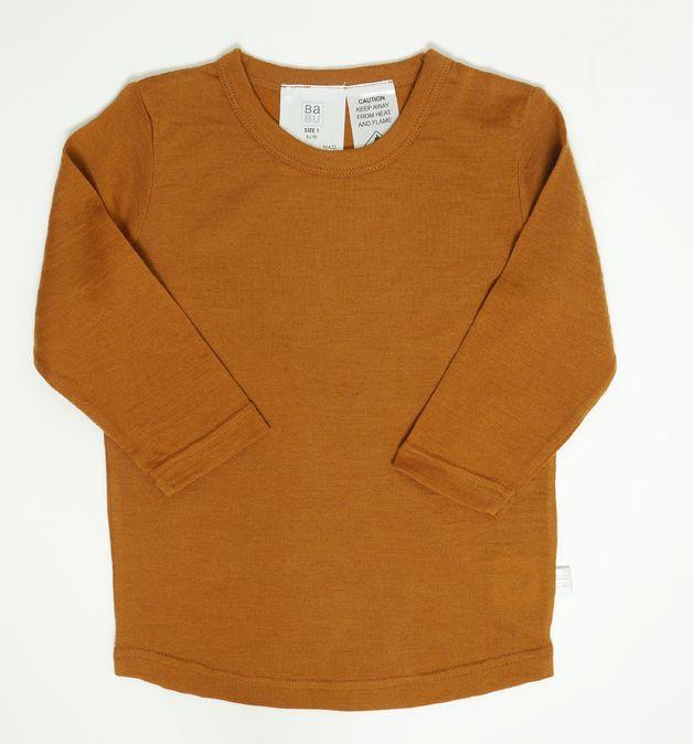 Babu: Merino Crew Neck Long Sleeve T-Shirt - Cinnamon (1 Year)