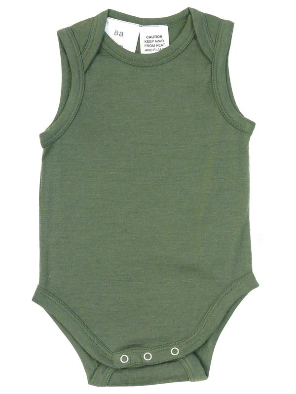 Babu: Merino Singlet Bodysuit - Khaki (2 Years)