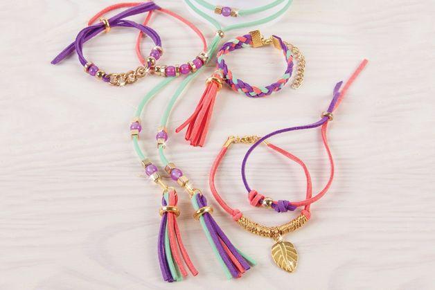 Make It Real: Gold link Suede Bracelets - Craft Kit