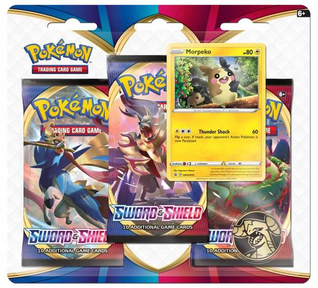 Pokemon TCG: Sword and Shield Three Booster Blister- Morepeko