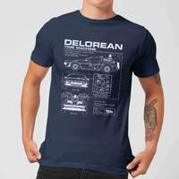 Back to the Future: DeLorean Schematic T-Shirt - Navy/X-Large