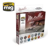 Ammo of Mig Jimenez Acrylic Metallic Colours Set