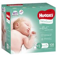 Huggies Ultimate Nappies: Jumbo Pack - Size 1 Newborn (108)