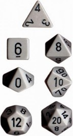 Chessex Opaque Polyhedral Dice Set - Dark Grey/Black