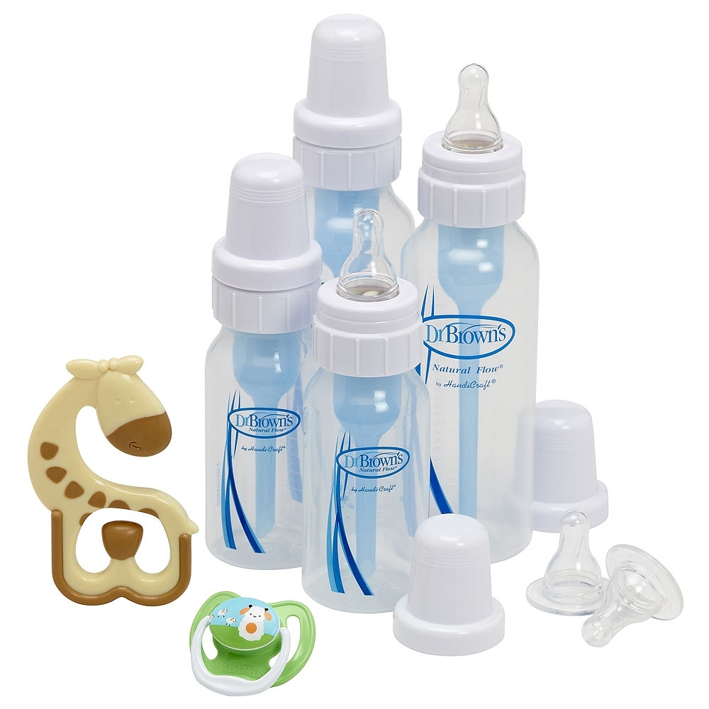 Dr Brown's Gift Set - 4 Bottles, Pacifier, Teether, Bottle Brush (Blue) image