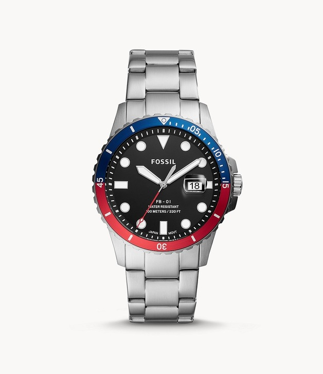 Fossil: FB-01 Watch - Silver/Red & Blue