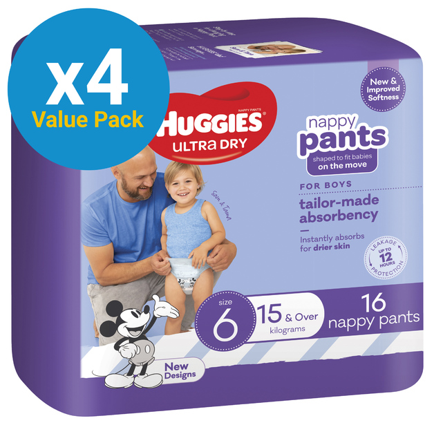 Huggies Ultra Dry Nappy Pants Convenience Value Box - Size 6 Boy 15+ kg (64)