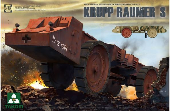 Takom: 1/35 Krupp Raumer S, WWII German Super Heavy Mine Clearing Vehicle Model Kit