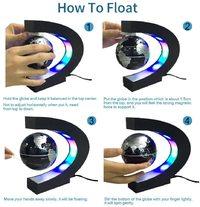 Ape Basics: Floating Globe with LED Lights C Shape Magnetic Levitation Floating Globe World Map for Desk Decoration