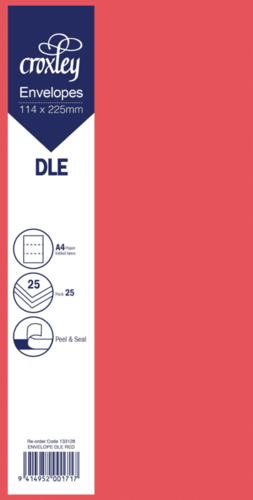 Envelope DLE Red - 114x225mm (Pack 25)