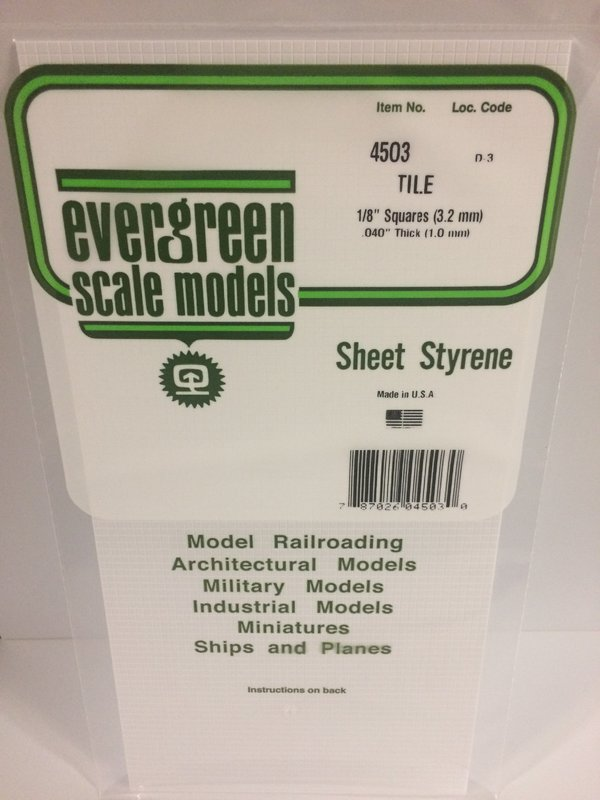 Evergreen Styrene Tile White 15X29cm X1 mm 3.2Sq