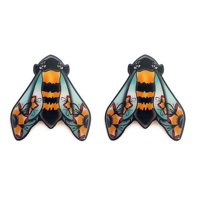 Painted Bumble Bee Stud Earrings
