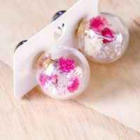 Short Story: Fantasy Bubble Earrings - Flower Pink image