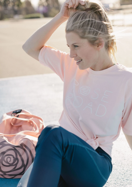 Rose Road: Tee -Blush With Stack Logo - L