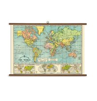 Cavallini - World Map Hanging Poster